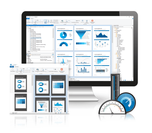 Report Designer in Desktop screen with charts and gauges