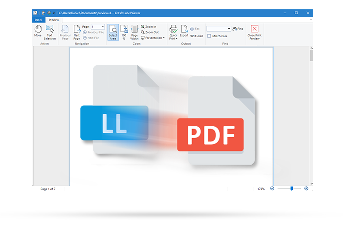 PDF display in the List & Label Viewer
